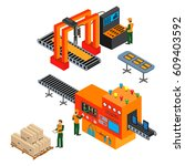automated factory assembly line ...   Shutterstock .eps vector #609403592