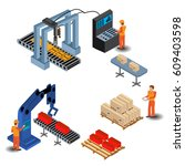 automated factory assembly line ... | Shutterstock .eps vector #609403598