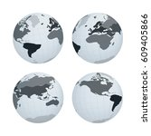 set of earth globe with... | Shutterstock .eps vector #609405866