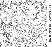 tracery seamless pattern.... | Shutterstock .eps vector #609406745