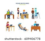 freelance and office worker.... | Shutterstock .eps vector #609406778
