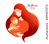 mother silhouette with her baby.... | Shutterstock .eps vector #609407072