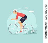 athlete is riding road bicycle. ... | Shutterstock .eps vector #609407942