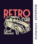 vector illustration. retro car... | Shutterstock .eps vector #609409448