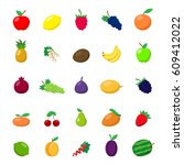 set of different fruit icons... | Shutterstock .eps vector #609412022