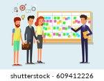 cartoon scrum master. business... | Shutterstock .eps vector #609412226