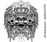 gothic coat of arms with skull... | Shutterstock .eps vector #609416792