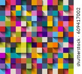 seamless pattern of colorful... | Shutterstock .eps vector #609417002