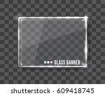 vector clear glass banner over... | Shutterstock .eps vector #609418745