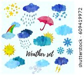 beautiful weather forecast icon ... | Shutterstock .eps vector #609419972