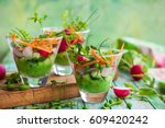 spring appetizer with raw... | Shutterstock . vector #609420242