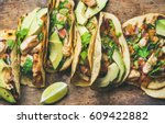 tacos with grilled chicken ... | Shutterstock . vector #609422882