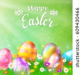 happy easter card with eggs ... | Shutterstock .eps vector #609430466