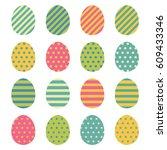 easter eggs icons set. easter... | Shutterstock .eps vector #609433346