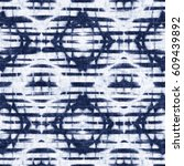 abstract indigo dyed ornament... | Shutterstock . vector #609439892