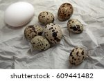 chicken and quail eggs on a... | Shutterstock . vector #609441482