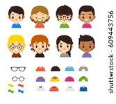vector set of cute male... | Shutterstock .eps vector #609443756