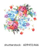 beautiful colorful bouquet of...   Shutterstock . vector #609451466