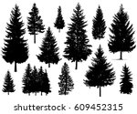 set. silhouette of pine trees.   | Shutterstock .eps vector #609452315