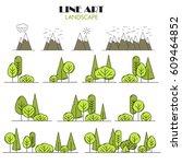 line art  landscape... | Shutterstock .eps vector #609464852