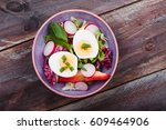 healthy salad with eggs and... | Shutterstock . vector #609464906