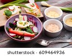 healthy meal with eggs and... | Shutterstock . vector #609464936