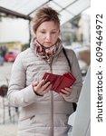 woman found she lost her debit... | Shutterstock . vector #609464972