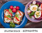 healthy meal with eggs and... | Shutterstock . vector #609464996