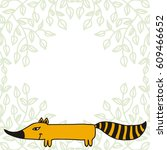 cute cartoon fox. vector... | Shutterstock .eps vector #609466652