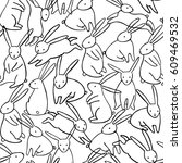 vector rabbit seamless pattern. ... | Shutterstock .eps vector #609469532