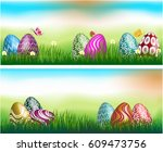 easter theme with  above the... | Shutterstock .eps vector #609473756
