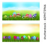 easter theme with  above the... | Shutterstock .eps vector #609473966