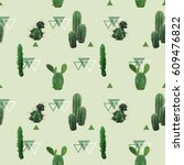 geometric cactus plant seamless ... | Shutterstock .eps vector #609476822