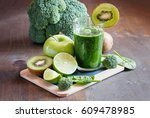 green fresh spinach smoothie... | Shutterstock . vector #609478985