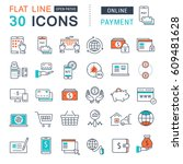 set  line icons in flat design... | Shutterstock . vector #609481628