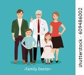 family doctor vector... | Shutterstock .eps vector #609486002