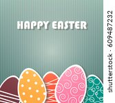 easter card with paper painted... | Shutterstock .eps vector #609487232