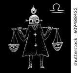 libra zodiacal symbol.... | Shutterstock . vector #609488432