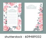 vector botanical banners with... | Shutterstock .eps vector #609489332