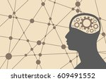 silhouette of a man's head with ... | Shutterstock .eps vector #609491552