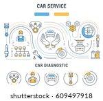 flat line illustration of car... | Shutterstock . vector #609497918
