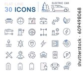 set  line icons in flat design... | Shutterstock . vector #609498068