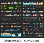 elements of modern city night.... | Shutterstock . vector #609498206