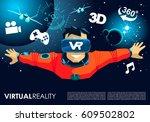 vr glasses video game man fly... | Shutterstock .eps vector #609502802