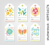 set of easter gift tags with... | Shutterstock .eps vector #609516176
