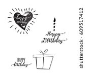 happy birthday lettering | Shutterstock .eps vector #609517412