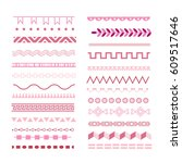 pink colored borders set. baby... | Shutterstock .eps vector #609517646