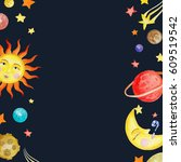 watercolor space banner or card ... | Shutterstock . vector #609519542
