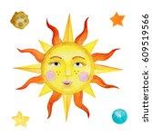 watercolor illustration summer... | Shutterstock . vector #609519566