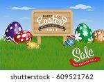 happy easter background.... | Shutterstock .eps vector #609521762